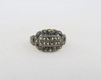 Antique Art Deco Sterling Silver Marcasite Ring Size 5.5