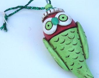 Lime Green Winter Owl Christmas Ornament Christmas folk art ornament
