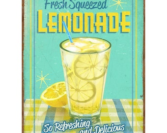 Fresh Squeezed Lemonade Metal Kitchen Sign 12 x 16 - #38252