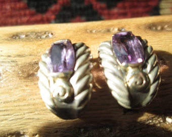 Ornate Amethyst and Sterling Post Earrings