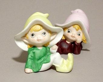 porcelain figurine green Pixie Elf HOMCO 5213 collectibles interior home decor decoration retro vintage 80s 1980s