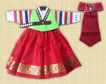 Traditional colored Korean Hanbok Dress (Size 1) for Dol