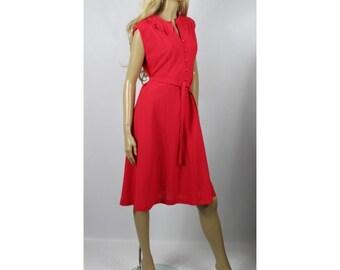 1970s Vintage Lipstick Red Petal Collar Dress Size M