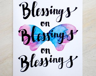 Blessings- Hand Lettered Greeting Card