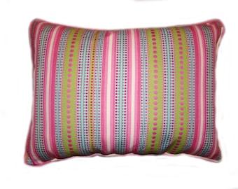2 Decorator Pillow Covers-Stripes-Lime Aqua Pink Olive Burgundy Cream