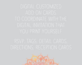 Add on cards for digital invitations - information cards, rsvp, accommodation cards, registry, tags