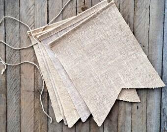 DIY 5 Piece Jute Banner, Swallowtail Jute Flags, Natural Jute Banner