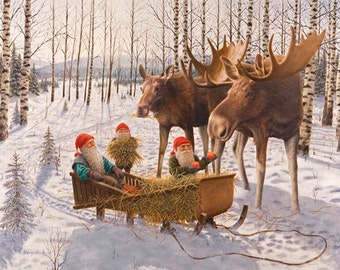 Swedish artist, Jan Bergerlind Tomte Gnome & Moose Christmas Cards Box of 12 #JB532