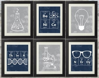 Nerdy Science Art  -  set of 6- 8x10 Instant Download Printables with Navy and Grey Watercolor for science themed bedroom or nursery