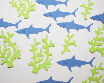 Under the Sea Party Decoration, Shark Seaweed Confetti, Nautical Theme, Table Confetti, Party Decor, Boy Birthday Party, 80 Ct.