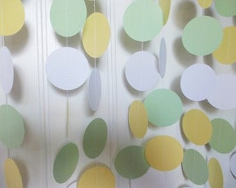 Party Paper Garland, Green Yellow & White Circle Garland, Gender Neutral Baby Shower,  Party Decoration, 12 FT., Ships in 2-3 Business Days