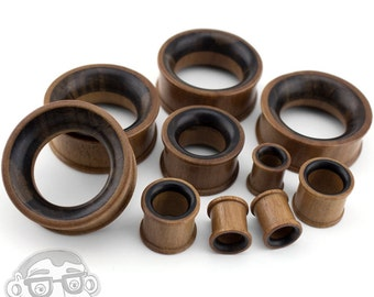 Two Tone Saba & Sono Concave Wood Tunnel Plugs (00G - 32mm) 1 Pair