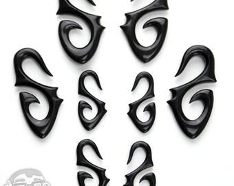 Black Horn Tribal Leaf Hangers Spirals - Sizes / Gauges (8G, 6G, 4G, 2G)