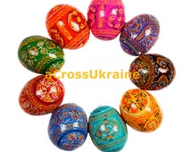 SALE!!! Set of 9 Multicoloured Hand Painted Wooden Easter Eggs, Ukrainian Pysanka, Easter Decor in Stock!!!