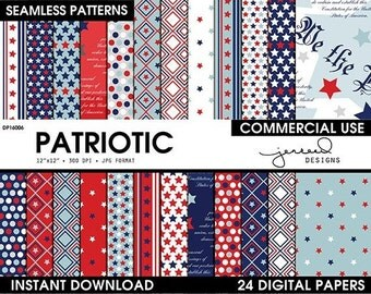 Fourth of July Digital Paper || Patriotic Scrapbook Paper || 4th of July Digital Paper || Red, White, Blue || Commercial Use || DP16006