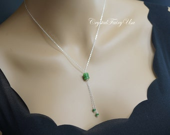 Emerald Jade Necklace - Sterling Silver Y Chain Necklace -  Stone Lariat Necklace