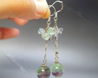 Fluorite Earrings - Stone Earrings - Cluster Earrings - Crystal Sterling Silver Dangle Earrings