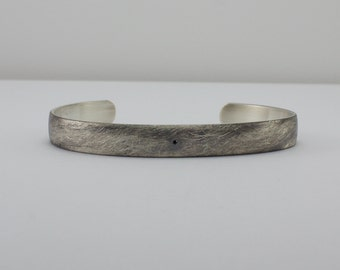 Black Diamond Bracelet - Oxidized textured finish Sterling Silver -  Modern Promise Bracelet - Flush Set Tiny Genuine Black Diamond