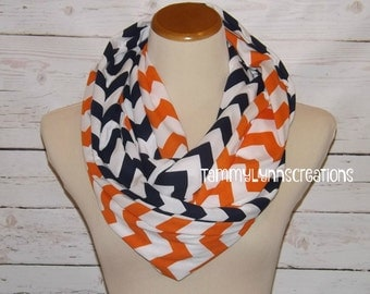 SALE!! Orange and Navy Chevron 2 Pair Choose 2 Lengths Team Game Day  Scarves Jersey Knit Infinity Scarves