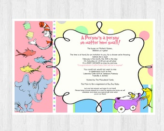 Dr Seuss Birthday Invitation | Dr Seuss Invite | Dr Seuss Invitation | Horton Invitation | Dr Seuss Baby Shower Invitation