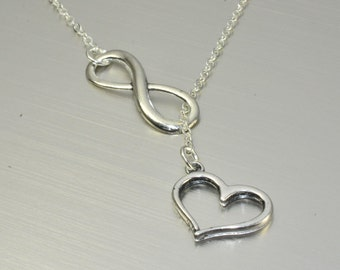 Infinity Necklace,Infinity and Heart Necklace,Heart Necklace,Love Necklace,Couple Necklace,Friend Gift,Friendship Gift,Sister Git,Mom Gift