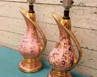 Lamps Pair Pink Gold Vintage
