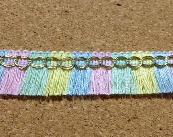 1 yard pastel ribbon fringe tassel trim