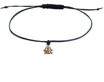Baby Skull Friendship Bracelet in Black