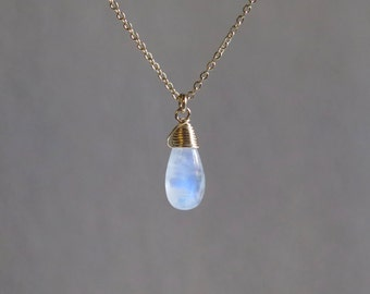 Rainbow Moonstone Necklace - June Birthstone - Gold Filled