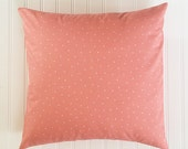 Peach with White Dots Pillow Cover / Decorative Throw Pillow Cover / 18 x 18 Pillow Cover / Sofa Pillow Cover