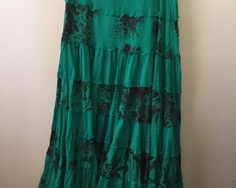 Vintage super soft tiered maxi skirt floral ruffle bohemian hippie chic gypsy traveller L