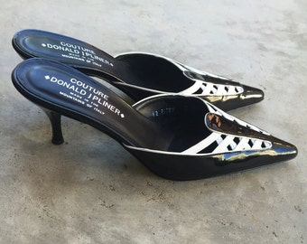 Vintage Donald J Pliner Couture patent leather spectator mules stunning tuxedo classic 7M gorgeous!