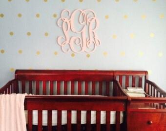 "Wooden Monogram - Vine Script Monogram - Monogram Door Hanger - Monogram Wall Hanging - Wedding Monogram - Nursery Monogram- large 24"""