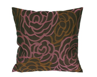 Stylized roses in purple and dark goldenrod , Decorative Throw Pillow Covers, Couch Pillow, Cushion cover, Accent pillow, Decorative cushion