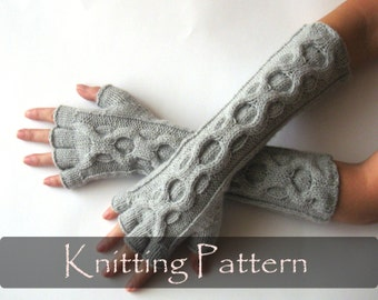 KNITTING PATTERN - Knit Gloves Pattern Inverted Cable Fingerless Gloves Half Fingers Mittens Pattern Arm Warmers Hand Warmers PDF - P0026