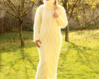 Hand Knitted Mohair Dress White Fuzzy Fetish Jersey Massive Turtleneck - Made to Order - by Extravagantza