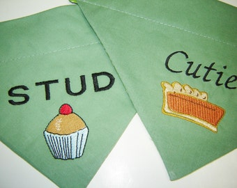 Stud Muffin or Cutie Pie Embroidered on Green Dog Scarf Over the Collar Dog Bandana