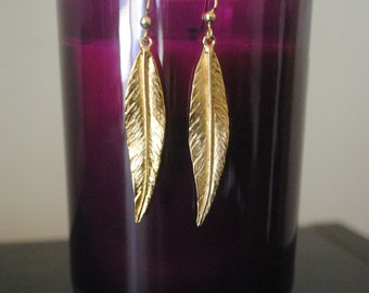 Gold Feather Dangle