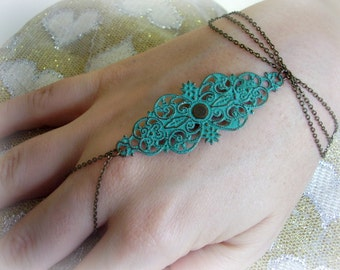 Turquoise slave braselet Slave ring bracelet Hand chain Hand piece Hand harness brass Summer jewelry