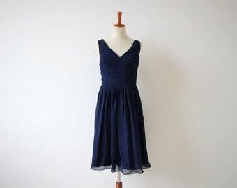 Navy Bridesmaid Dress V-neck Knee-length Navy Blue Chiffon Bridesmaid Dress With Straps
