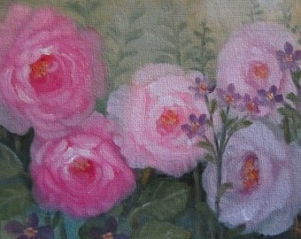 Colorful Roses, Original Oil Painting, 5x7