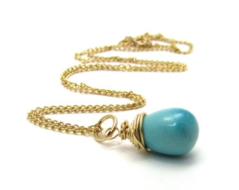 Genuine turquoise necklace, Sleeping Beauty turquoise jewelry, December birthstone turquoise blue necklace, gold jewelry handmade