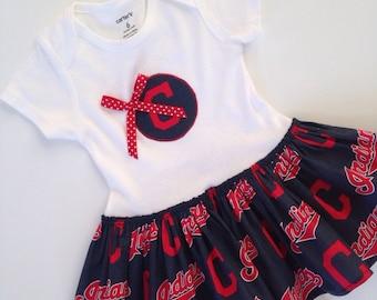 Indians Skirted Bodysuit Dress, Cleveland Indians Baby Dress, Cleveland Baby Dress, Indians Bodysuit, Baseball Bodysuit Dress
