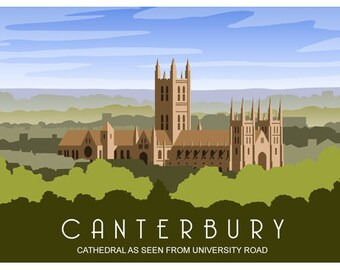 Canterbury Cathedral from University Road, Landscape, green. Railway Style Poster. A4, A3, A2