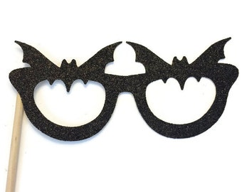Halloween Photo Booth Prop - Bat Glasses Prop- Photo Booth Prop with Glitter