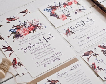 Vintage Inspired Birds And Blooms Wedding Stationery Sample