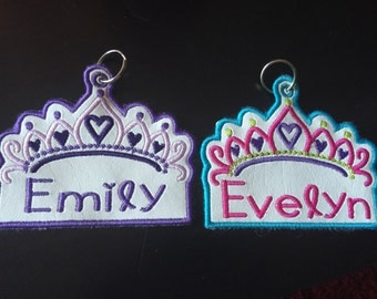 Princess zipper pull backpack name tag crown school.  Free shipping!