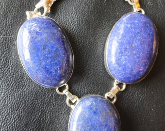 Lapis Lazuli and Sterling Silver Necklace 18.8 inches in length