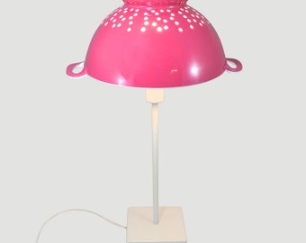 Filter my Light (Magenta) is a stylish upcycled kitchen table lamp