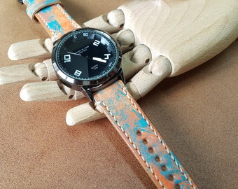 Handmade Genuine Colorful Leather Watch (Color Painted on Leather)